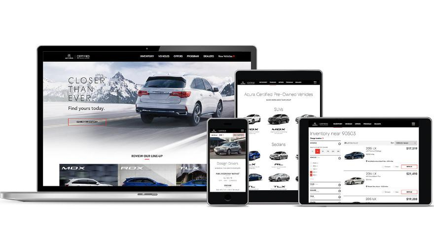 Acura presents redesigned CPO site with new alert, sharing features on lexus website, nissan website, porsche website, john deere website, land rover website, volkswagen website, infiniti website, honda website, aston martin website,