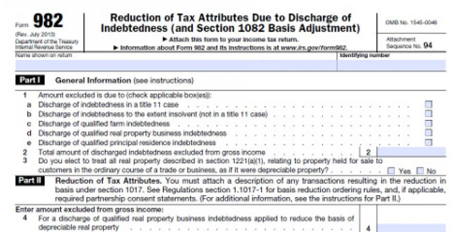 Insolvency Exception Could Help Form 1099C Recipients – Irs Form 982 Worksheet